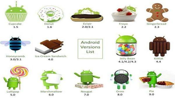 Các phiên bản Android từ 1.5 - 9.0