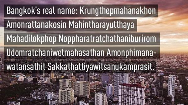 Tên thủ đô dài nhất thế giới là Bangkok