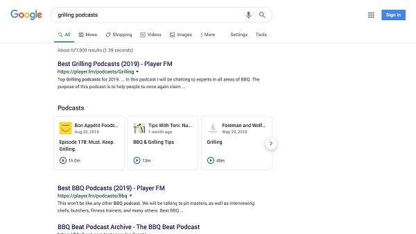Trang hiển thị kết quả tìm kiếm của Google