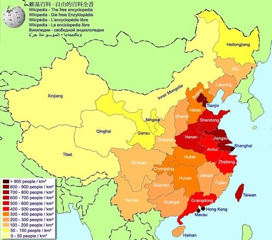 Phân bố dân cư tại Trung Quốc