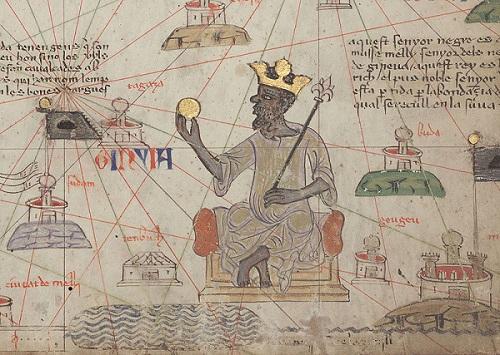 Bức vẽ vị vua châu Phi cầm một cục vàng