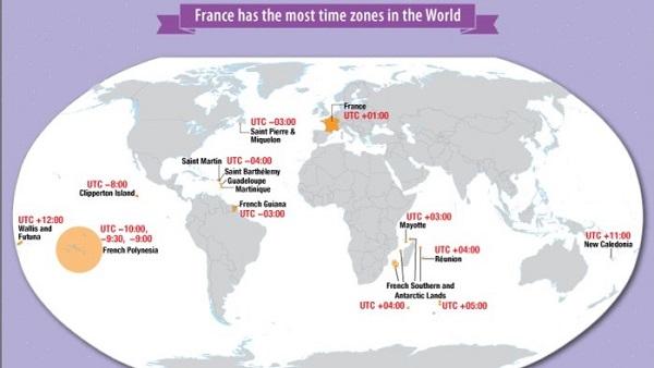 Nước nào có nhiều múi giờ nhất thế giới?